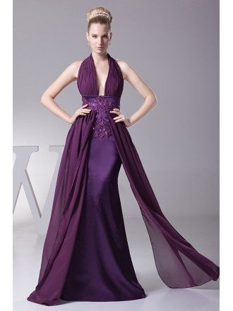 Unique Long Embroidery Beaded Grape Prom Dress with Halter Neck