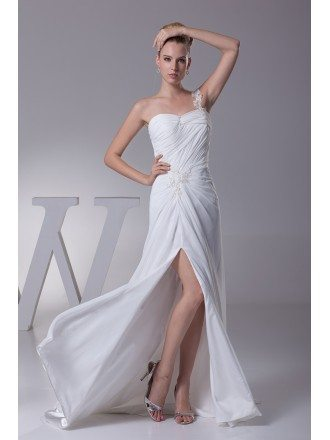 Elegant One Shoulder Pleated Beaded Lace Wedding Dress with Split Front