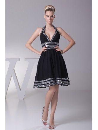 Halter Neck Sweetheart Short Black Formal Dress with White Sequins Hem