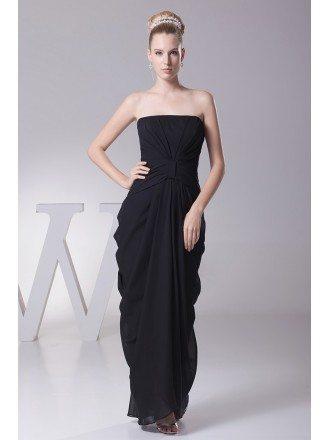 Simple Black Strapless Folded Chiffon Bridesmaid Dress in Floor Length