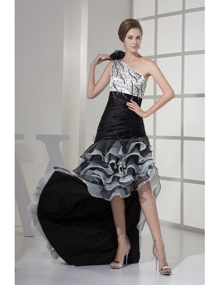 High Low One Shoulder Pleated Beaded Cascading Bridal Dress in Black and White Color