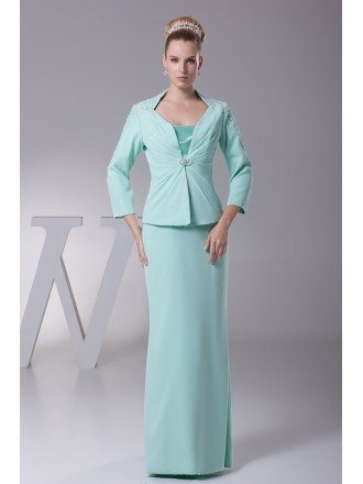 Long Jacket Chiffon Lace Teal Mother of the Groom Dress In Three Pieces