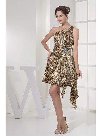 Unique Beaded Short Sexy Leopard Prom Dress in One Shoulder