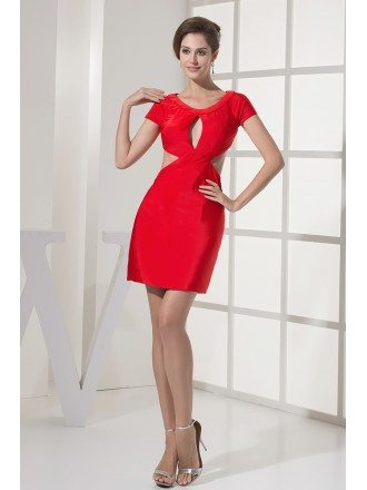 Different Sexy Short Sleeved Red Satin Prom Dress with Open Back