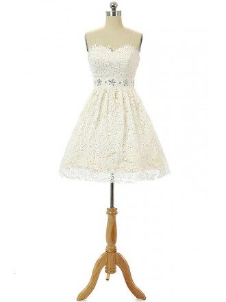 A-line Sweet-heart Short Prom Dress with Lace