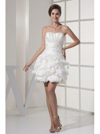 Simple Beaded Taffeta White Beach Bridal Dress in Cocktail Length