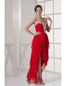 Layered High Low Red Chiffon Folded Prom Dress with Beaded Sweetheart Neckline