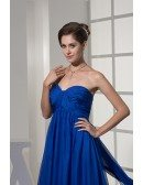Beautiful Pleated Chiffon Royal Blue Train Bridal Gown with Sweetheart Neckline