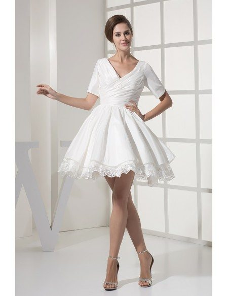 Simple Sweetheart Ruffled Taffeta Lace Short Bridal Gown with Sleeves