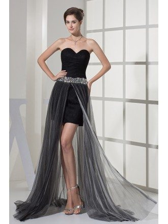 Unique Sweetheart See Through Black Tulle Prom Dress with Beaded Waist