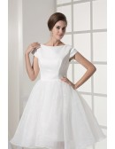 Simple Modest Ballroom Short Sleeved White Wedding Gown in Satin and Organza