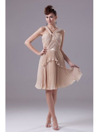 Unique Pleated Chiffon Short Champagne Formal Dress with Halter Straps