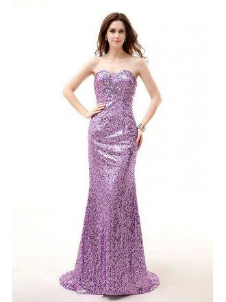 Mermaid Sweetheart Neck Floor-Length Sequined Prom Dress With Beading
