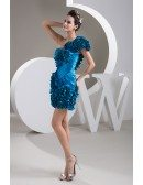 A-line One-shoulder Short Satin Prom Dress With Cascading Ruffle