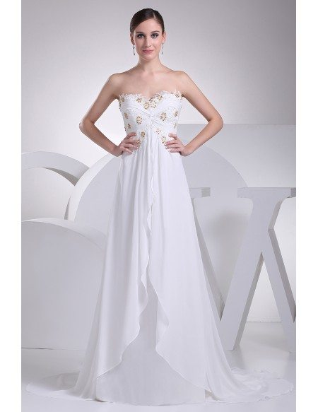 Strapless Lace Beaded Chiffon White Wedding Dress with Train