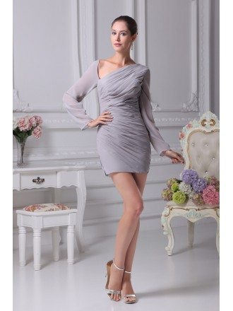 Sexy Folded Chiffon Short Grey Bridal Party Dress with Long Sleeves