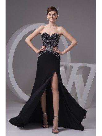 Sheath Sweetheart Floor-length Chiffon Prom Dress With Beading