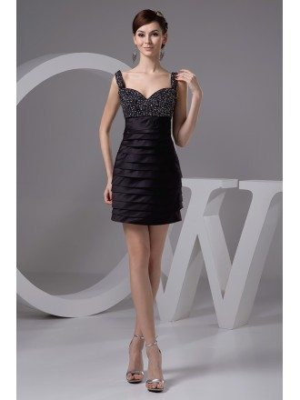Sheath Sweetheart Short Satin Homecoming Dress With Beading