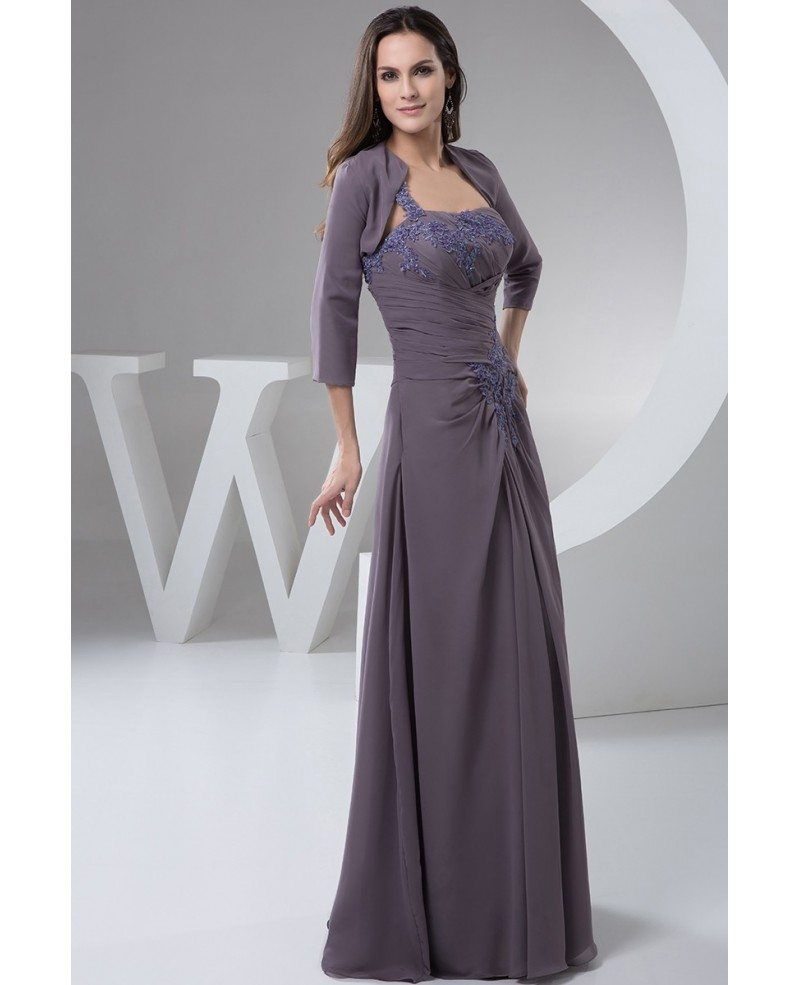 Fall Mother of the Bride Dresses With Jacket Long Chiffon ...
