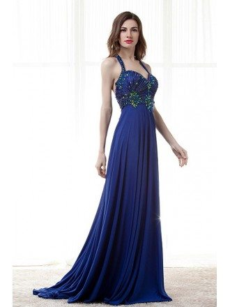A-Line Sweetheart Floor-Length Chiffon Prom Dress With Ruffle Beading Sequins Pleated