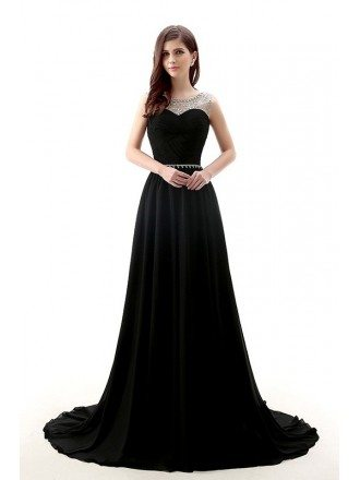 A-Line Scoop Neck Court Train Chiffon Prom Dress With Beading