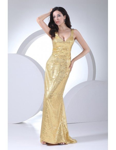 Sparkly Gold Sheath Floor Length Formal Party Dress with Straps
