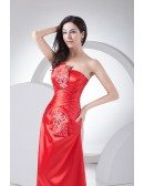 Red Strapless Floor Length Beaded Satin Bridal Party Dress