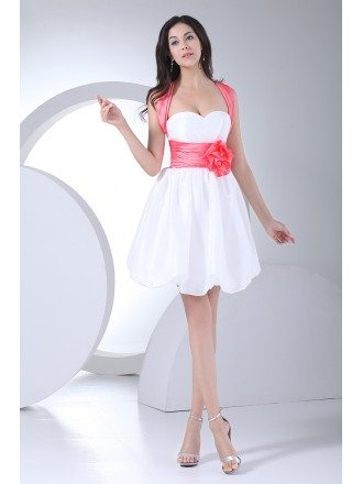 Cute Pink and White Short Party Dress with Sash Cross Back