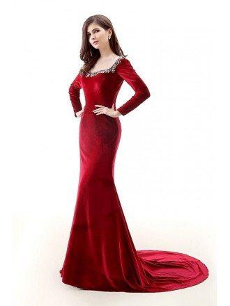 Mermaid Scoop Neck Court Train Velvet Prom Dress With Beading