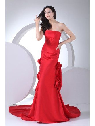 Red Strapless Floral Taffeta Formal Dress with Long Train