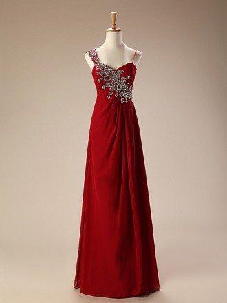 A-Line Sweetheart Floor-Length Chiffon Prom Dress With Beading