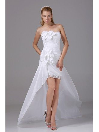 Handmade Flower High Low Wedding Dress Sheath Fitted