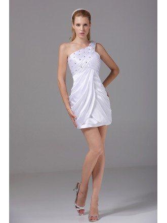 White Beaded One Shoulder Short Wedding Dress Reception