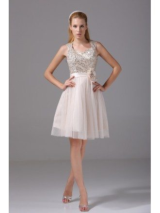 Sparkly Sequined Short Tulle Bridal Party Dress with Sash