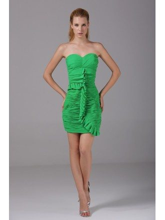 Sweetheart Pleated Little Short Sheath Party Dress in Chiffon
