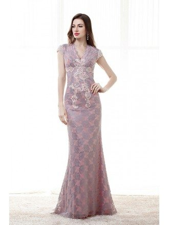 Sheath V-neck Floor-Length Lace Evening Dress With Pearl Appliques