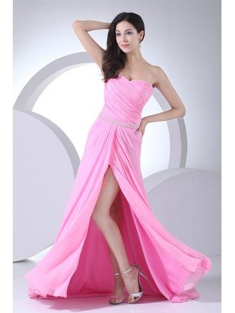Cute Pink Sweetheart Pleated Split Front Long Prom Dress