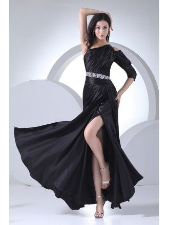 Sexy Black One Sleeve Split Front Long Formal Dress Beaded