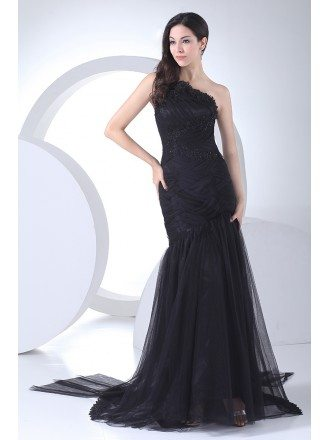 Gorgeous Navy Blue One Strap Cross Beaded Long Tulle Prom Dress