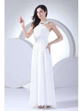 Custom Long White Chiffon Beaded Halter Bridal Dress