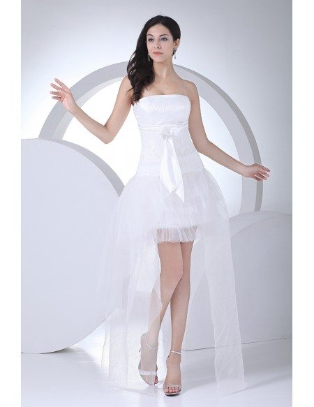 Cute High Low Tulle Strapless Wedding Dress with Sash