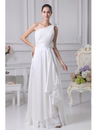 Gorgeous One Shoulder Pleated Chiffon Wedding Dress with Sash