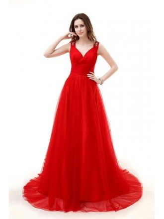A-Line V-neck Chaple Train Tulle Prom Dress With Ruffle Beading