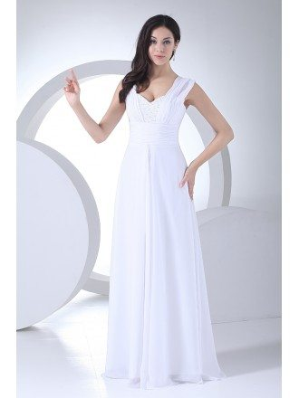 Beaded Sweetheart Floor Length Long Chiffon Wedding Dress with Straps