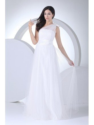 Beautiful Soft Tulle One Shoulder with Bow Floor Length Wedding Dress