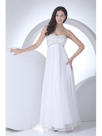 Lovely Beaded Top Long Chiffon Empire Waist Maternity Wedding Dress