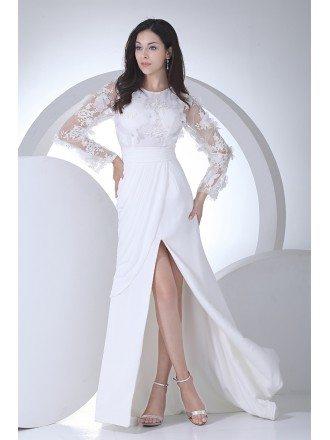 Charming Long Floral Sleeves Wedding Dress Split Front