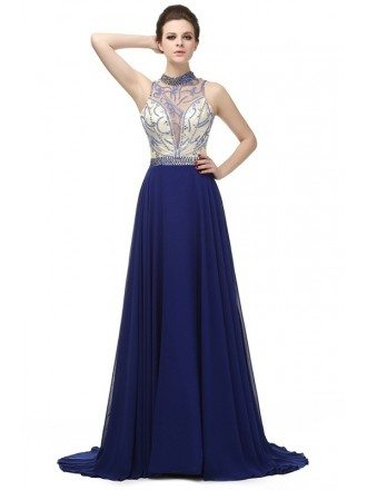 A-line Halter Court Sweep-train Dress With Beading