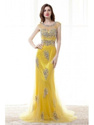 Sheath Scoop Neck Sweep Train Tulle Prom Dress With Beading Pearl