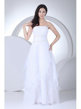 Elegant Strapless Floor Length Organza Wedding Dress
